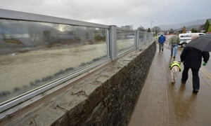 Recently constructed glass flood barrier in Keswick