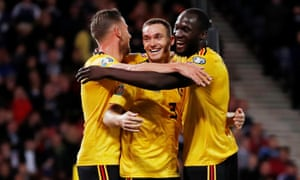 Thomas Vermaelen celebrates scoring Belgium's second.