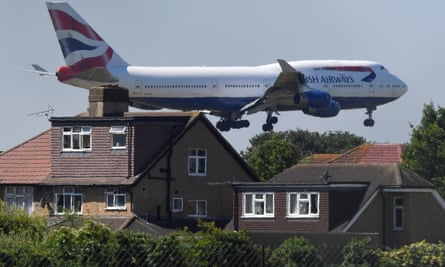 A British Airways Boeing 747 comes in to land at Heathrow