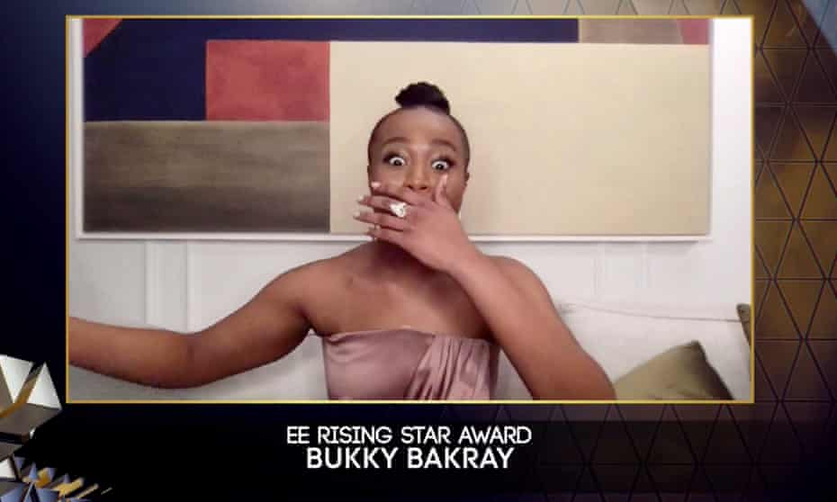 Bukky Bakray accepting the EE Rising Star award during the 74th annual British Academy Film Awards.
