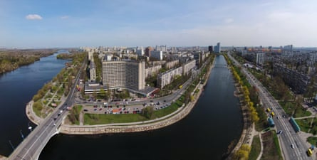 The Rusanovka channel in Kiev, where prefabricated towers meet canals and embankments.