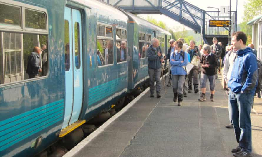 Ramblers at Craven Arms station on the Heart of Wales line