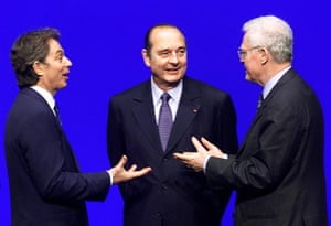 President Chirac listens to Tony Blair and Lionel Jospin during the Franco-British summit in Saint-Malo, December 1998