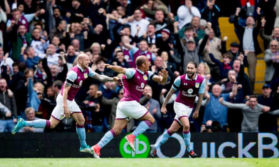 Gabriel Agbonlahor of Aston Villa celebrates after scores for Aston Villa during the Championship derby match against Birmingham City at Villa Park in April 2017.