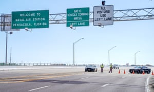 A police roadblock outside the Pensacola naval air station following the December shooting.