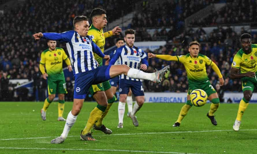 Leandro Trossard scores Brighton's first goal against Norwich.