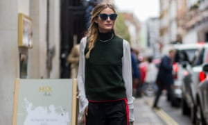 Olivia Palermo in Zara trousers during London fashion week