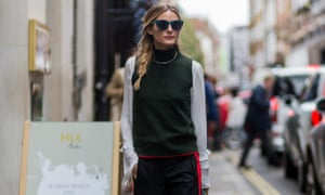 Olivia Palermo in Zara trousers.