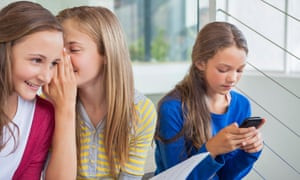 Children talk and use mobile phones