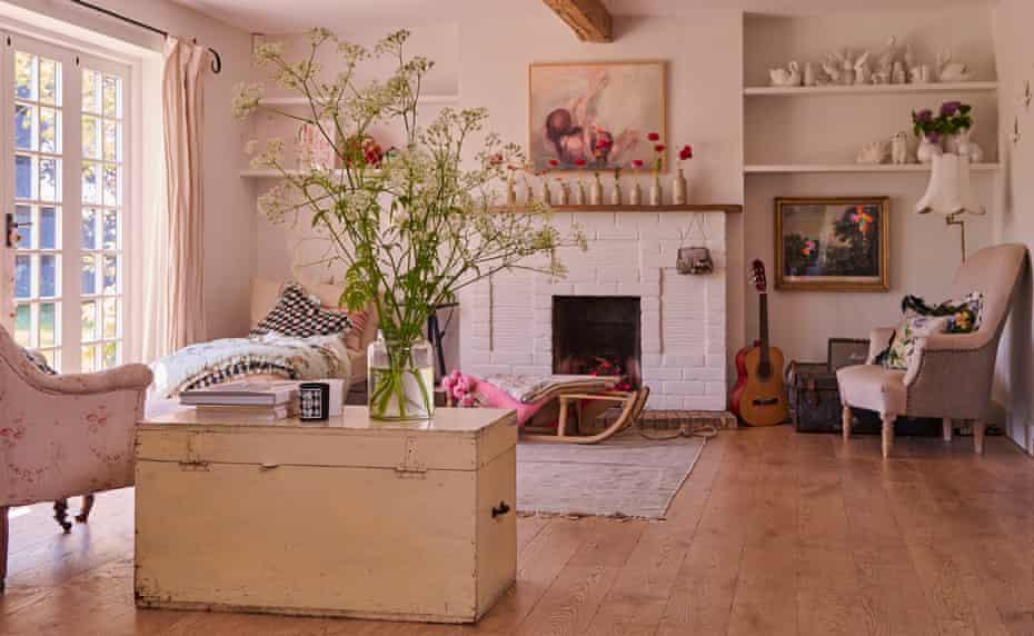 The open-plan living area in the home of fashion designers Justin Thornton and Thea Bregazzi in Walberswick, Suffolk