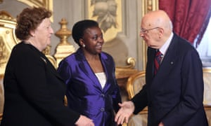 Incoming immigration minister Cecile Kyenge (centre) and new justice minister Anna Maria Cancellieri are greeted by Italy's president, Giorgio Napolitano, during a government swearing-in ceremony in Rome, 28 April 2013.