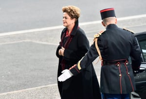 Brazil's president Dilma Vana Rousseff arrives for the opening session of COP21 in Le Bourget, Paris