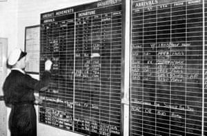 The movements board is updated by hand on 2 September 1948