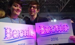 Sarah Gross, 22, and Dillan Newbold, 23, at a Bernie Sanders rally on Saturday night.