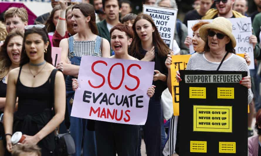 Protestors march in Sydney in support of refugees held in Australia's offshore detention centre.