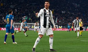 Cristiano Ronaldo celebrates after his superb hat-trick cut down Atlético Madrid and fired Juventus into the last eight of the Champions League against the odds.