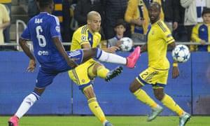 Maccabi Tel Aviv's Tal Ben Haim in action against Chelsea in last season's Champions League.