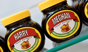 A shelf display of Marmite spread with a redesigned label for the wedding of Britain's Prince Harry and his fiancee Meghan Markle is seen in Windsor.