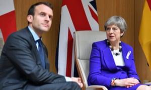 Theresa May and Emmanuel Macron, who are due to meet tomorrow.