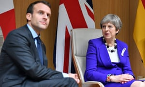 Emmanuel Macron and Theresa May at the EU summit in Brussels