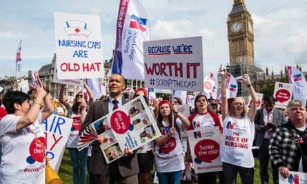 Nurses protest government pay cap.