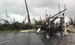 Tangled electricity lines in Anguilla after hurricane.