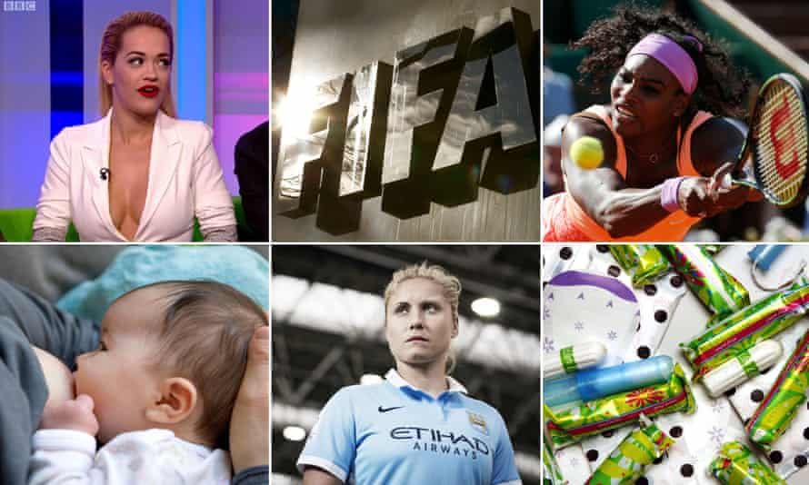 Clockwise from top left: Rita Ora, Fifa, Serena Williams, tampons, Steph Houghton, captain of England women's football team and breastfeeding were all topics of sexist debate.