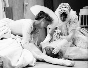 Felicity Kendal as Beatrice, Karen Ascoe as Hero and Cherith Mellor as Ursula in Much Ado About Nothing.