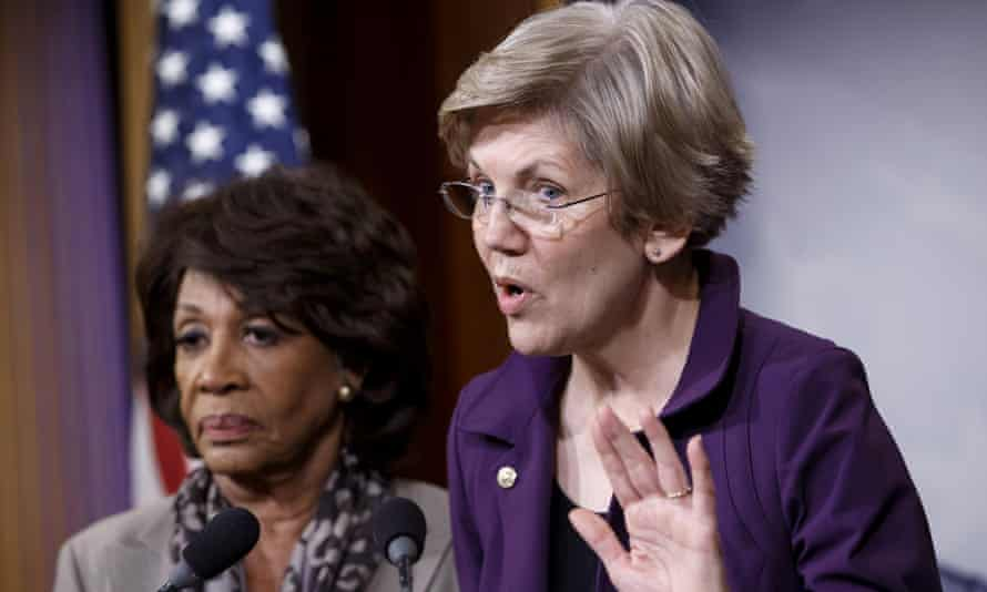 Senator Elizabeth Warren, right, a member of the Senate Banking Committee, and Rep. Maxine Waters, ranking member of the House Financial Services Committee.