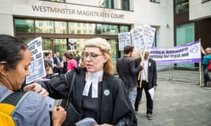 A protest in support of legal aid in London.