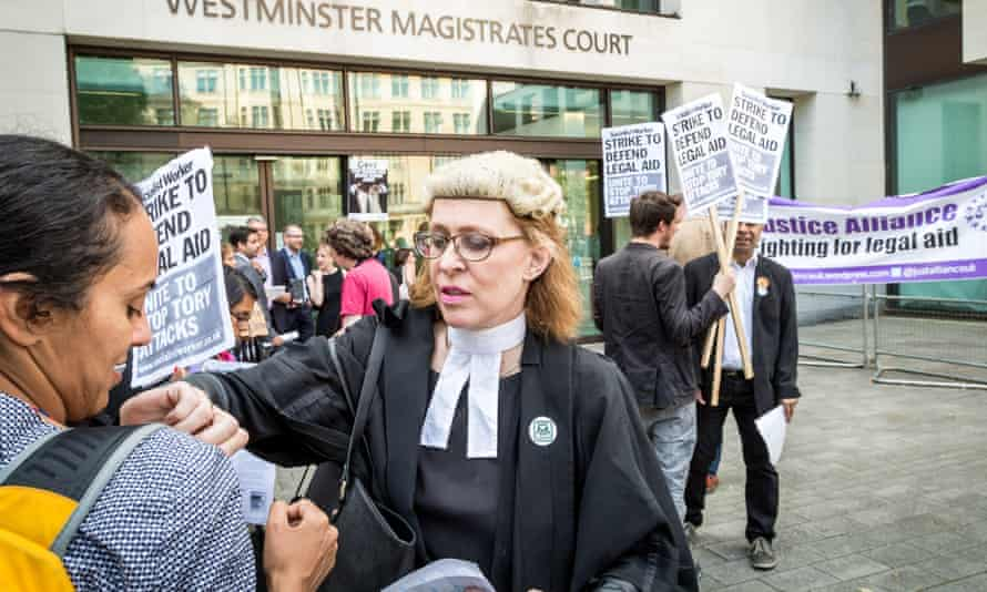 A save Legal Aid Protest held outside Westminster magistrates court.