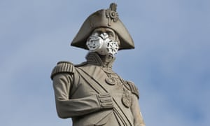 Lord Nelson is seen wearing a mask in Trafalgar Square after a stunt by Greenpeace in April 2016.