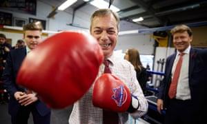 Nigel Farage in boxing gloves