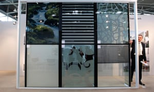 Glass windows with integrated solar panels are seen during the opening day of the International Trade Fair in Munich.