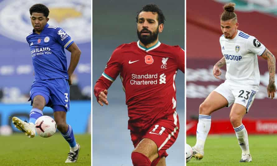 Leicester's Wesley Fofana, Mohamed Salah of Liverpool and the Leeds midfielder Kalvin Phillips.