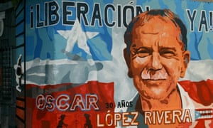 In solitary he would spend all but two hours a week in his cell with no sight of the sky ... a mural dedicated to López Rivera in Puerto Rico