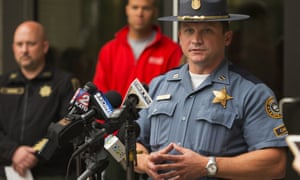 Oregon state police captain Bill Fugate during a briefing on the wildfires, which authorities believe was caused by a 15-year-old boy and friends using fireworks.