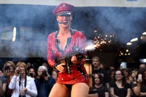 A Burlesque performer onstage during the London Tattoo Convention at Tobacco Dock