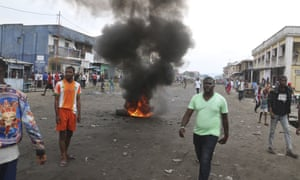 People in Kinshasa protest