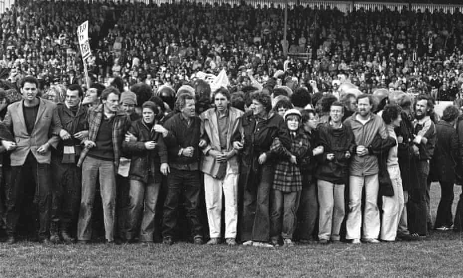 Anti-apartheid demonstrators invade the pitch in Hamilton during the Springboks' 1981 tour of New Zealand.