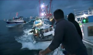 French and British fishing boats collide in the Channel.