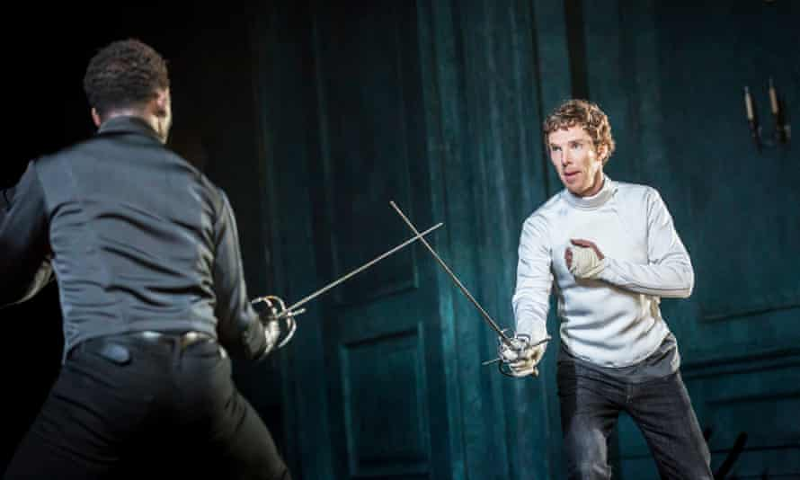 Benedict Cumberbatch as Hamlet and Kobna Holdbrook-Smith as Laertes in Hamlet, which was filmed at the Barbican in 2015 and will be available to Prime subscribers.