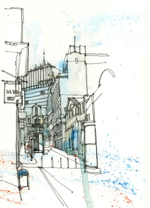 King Street, Manchester as drawn by Simone Ridyard of Urban Sketchers
