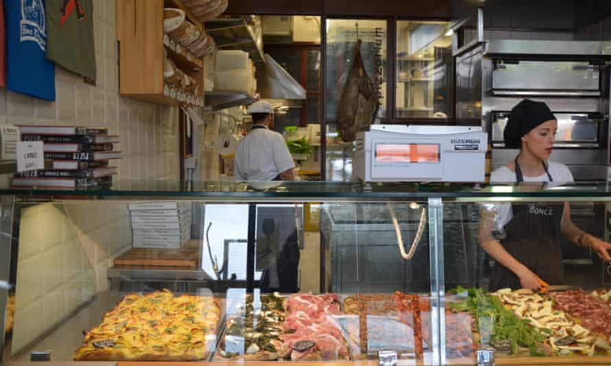 Pizza by the slice in Gabriele Bonci, Rome