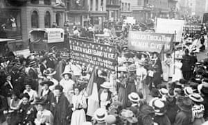 Suffragettes on their way to Women's Sunday, 21st June 1908.