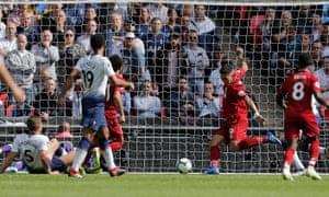 Roberto Firmino scores Liverpool's second goal.