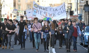 School students in Bristol taking part in the national climate change protest on 15 February