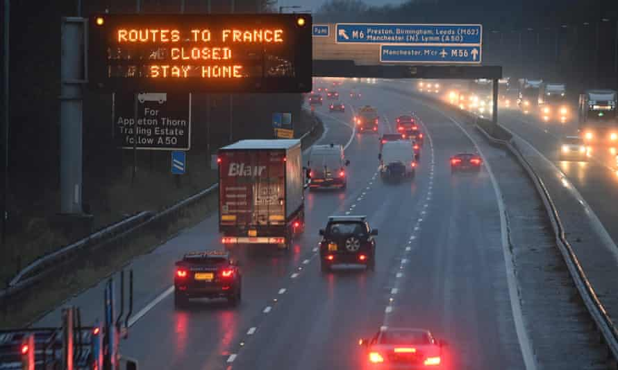 A sign on the M56 motorway in north-west England informs drivers that all routes into France are closed.