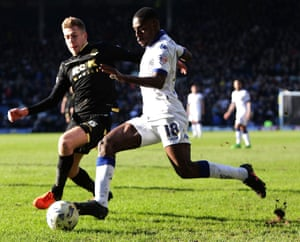 Mustapha Carayol takes on Bolton's Josh Vela in the Championship in March 2016.