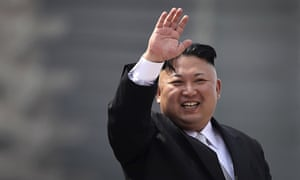 North Korean dictator Kim Jong-un waves during a military parade in Pyongyang on 15 April.